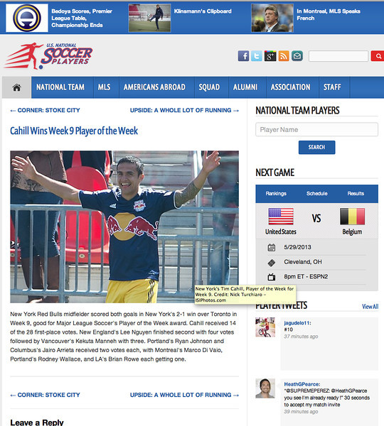 May 2, 2013: US National Soccer Players - Tim Cahill - Week 9 MLS Player of the Week.