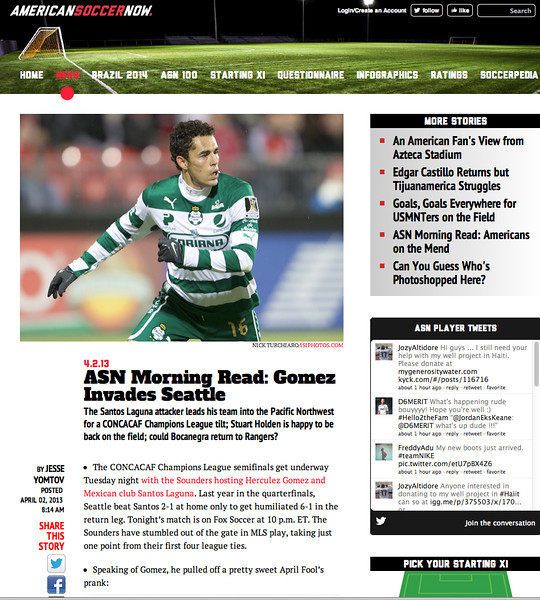 April 9, 2013: AmericanSoccer Now - Herculez Gomez.