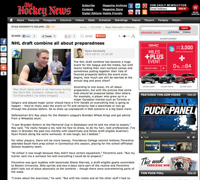 June 1, 2013: The Hockey News - 2013 NHL Combine.