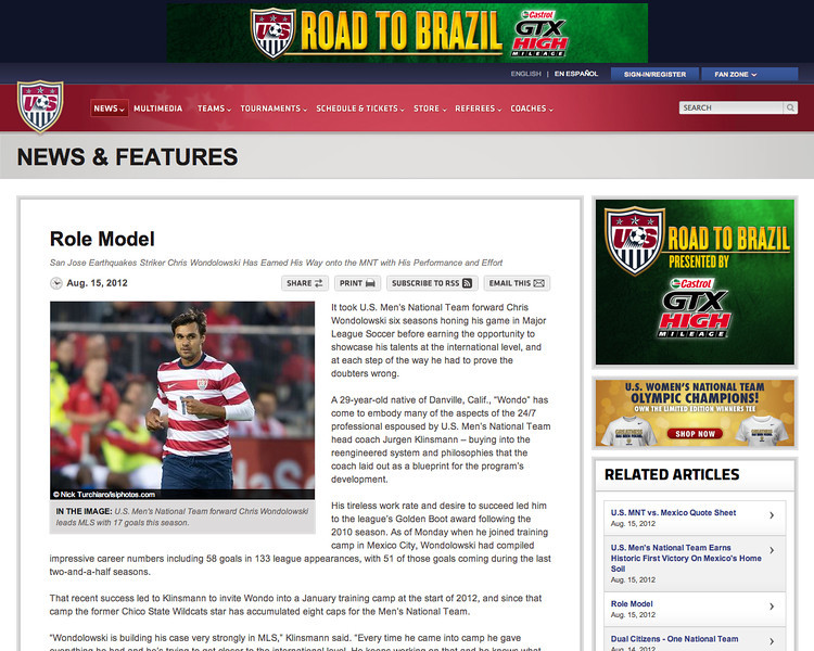 August 15, 2012: US Soccer - Chris Wondolowski.