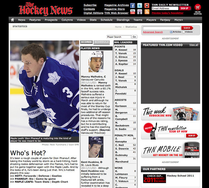 November 1, 2011: The Hockey News Dion Phaneuf.