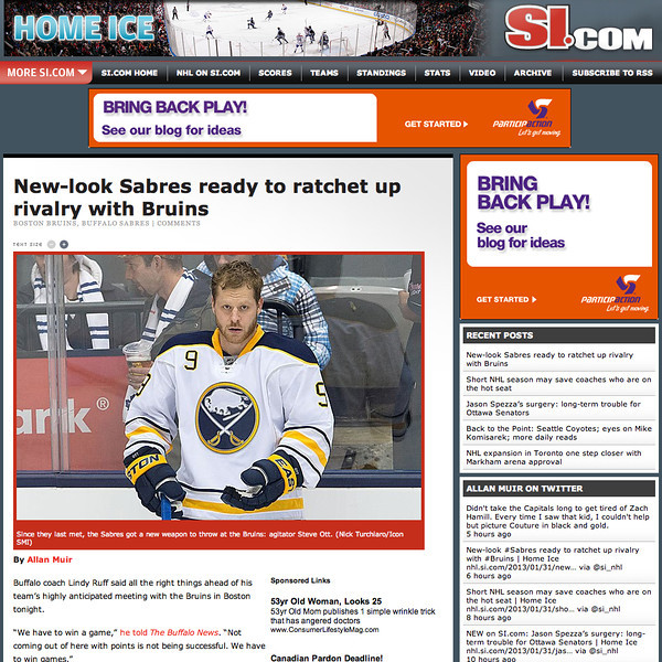 January 31, 2013: Buffalo Sabres Steve Ott - si.com.