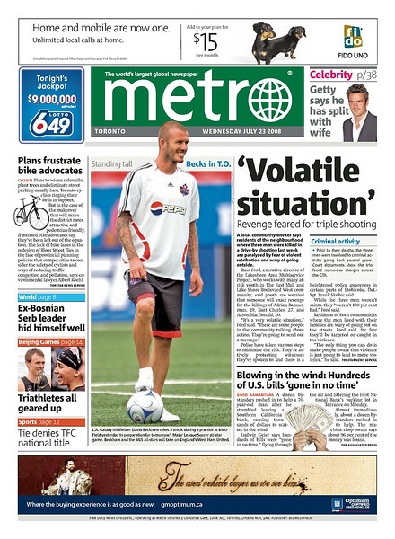 July 23, 2008: David Beckham on the front page of the Metro during the MLS All-Star Game at BMO Field in Toronto, Ontario.
