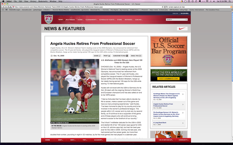 October 16, 2009: Angela Hucles of the US Women's Soccer Team retires from professional soccer posted article on the USsoccer.com web site.