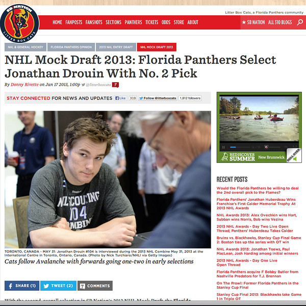 June 17, 2013: Litter Box Cats - Jonathan Drouin - 2013 NHL Combine