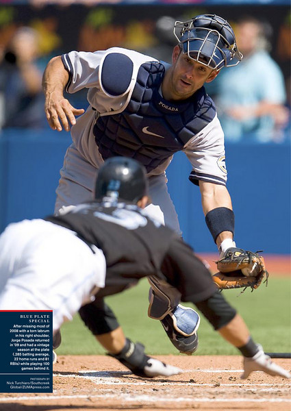 "November 11, 2009: Sports Illustrated 2009 Commemorative Issue of the World Series Champions New York Yankees, Page 16 ""Blue Plate Special"" entitled ""A Season in Pictures""."