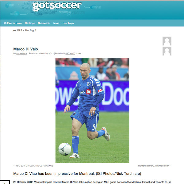 "March 20, 2013: GotSoccer ""MLS The Big 5"" - Montreal Impact forward Marco Di Viao #9."
