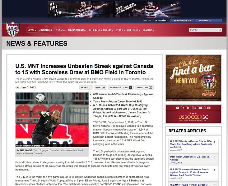 June 5, 2012: ussoccer.com - USMNT vs Canada June 3, 2012 -US National Soccer Team goalkeeper Tim Howard.