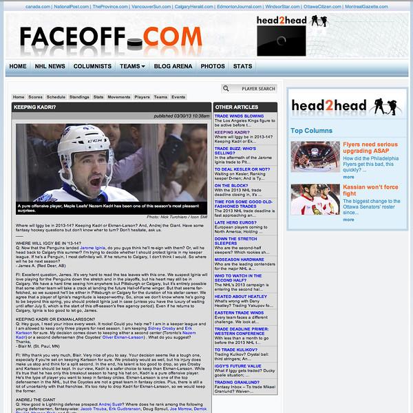 March 30, 2013: Faceoff.com - Toronto Maple Leafs centre Nazem Kadri #43.