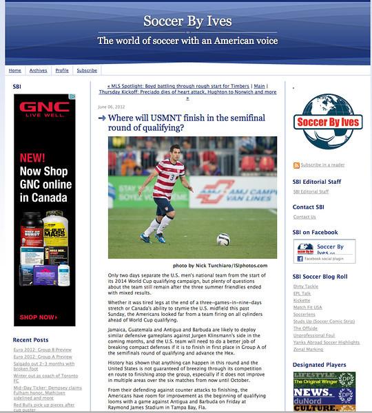 June 6, 2012: Soccer By Ives - USNMT Soccer.