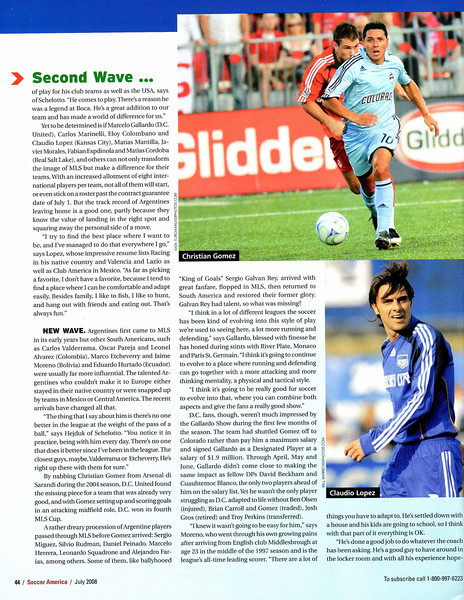 Soccer America Magazine 2008 July Issue Page 44 Top Image Christian Gomez.