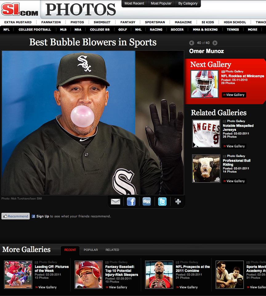 Chicago White Sox trainer Omer Munoz shows how to blow bubbles at a Blue Jay game at the Rogers Centre in Toronto.