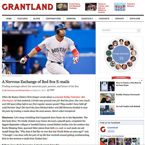 March 27, 2012: Grantland - Carl Crawford Boston Red Sox.