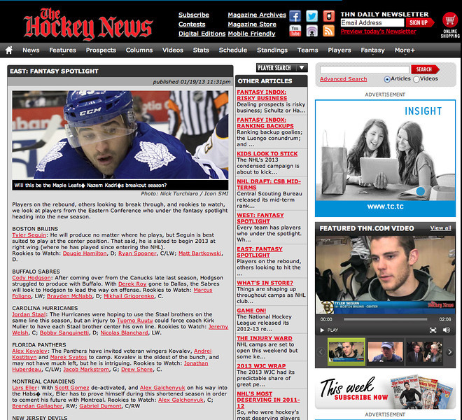 January 31, 2013: Toronto Maple Leafs Nazem Kadri - The Hockey News.