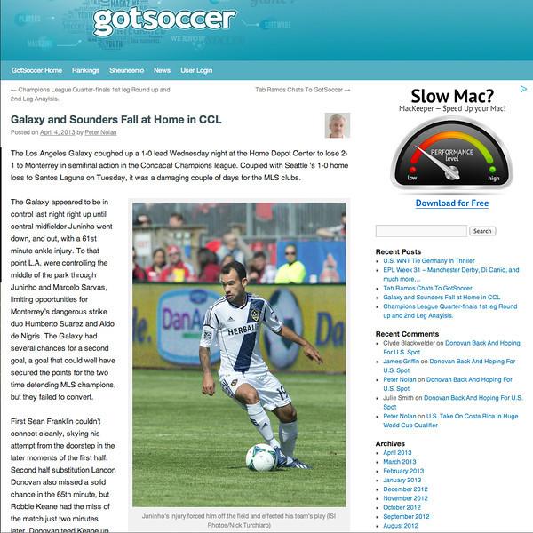 April 4, 2013: Gotsoccer - Juninho.