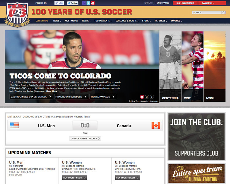 January 31, 2013: US National Soccer Team.