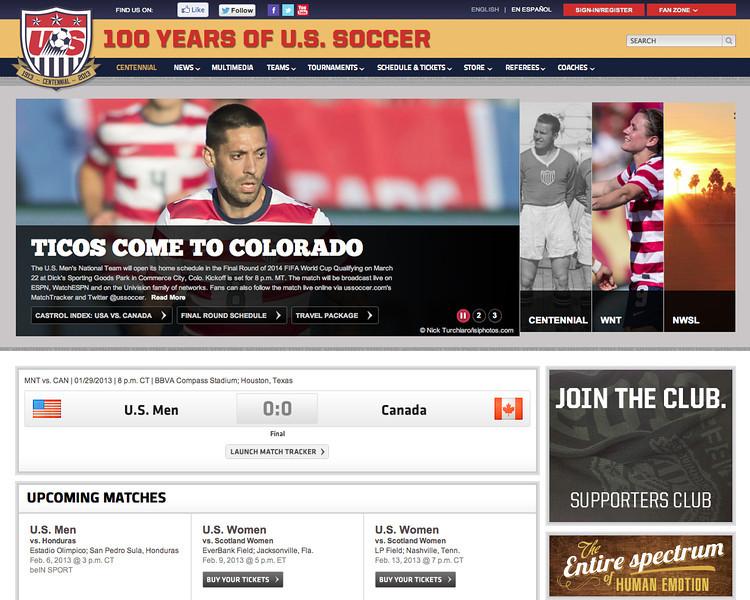 January 31, 2013: US National Soccer Team.