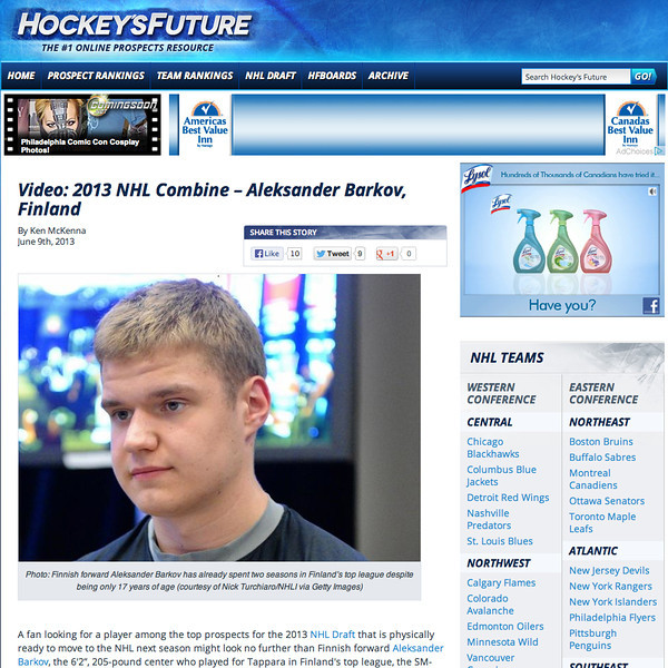 June 9, 2013: Hockey's Future - Aleksander Barkov - 2013 NHL Combine
