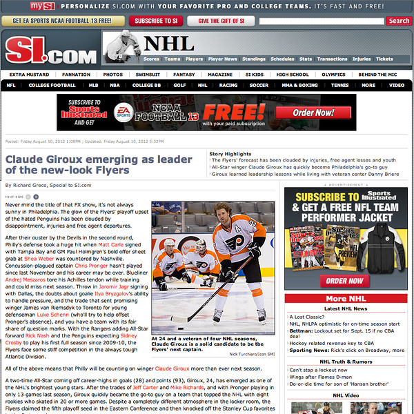 August 9, 2012: SI.com - Claude Giroux Philadelphia Flyers