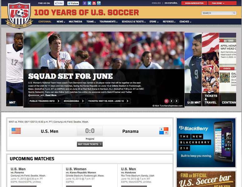 June 10, 2013: USWNT - US Women's National Soccer Team