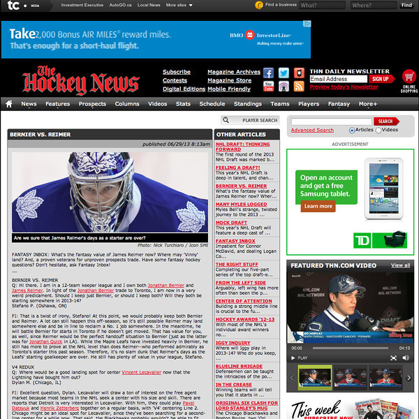 June 29, 2013: The Hockey News - Toronto Maple Leafs Goalie James Reimer.