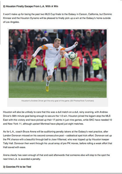 May 15, 2013: Gotsoccer.com -Houston Dynamo's  Andrew Driver.