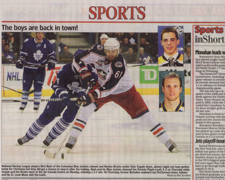 Columbus Blue Jackets Rick Nash vs the Toronto Maple Leafs at the Air Canada Centre.(The Brampton Guardian)
