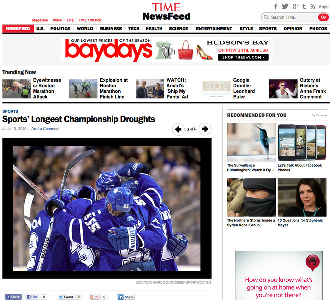 June 10, 2010: Time News Feed - Toronto Maple Leafs.