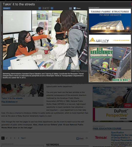 May 5, 2013: Public Works Magazine - City of Brampton Career Forum.