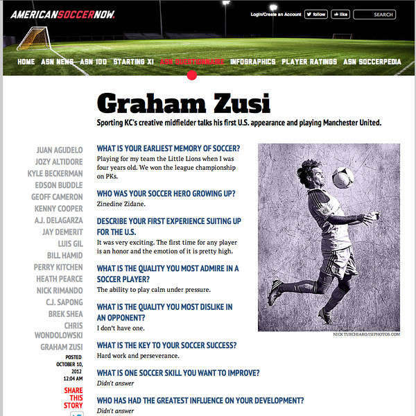October 15, 2012: American Soccer Now - Graham Zusi