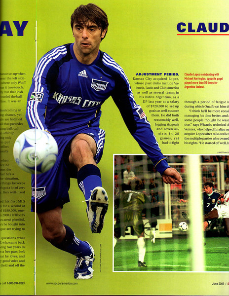 "Soccer America Magazine 2009 June Issue Page 34 & 35 ""Double Truck"" Claudio Lopez."
