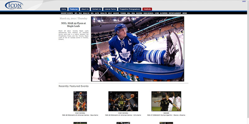 March 29, 2012: Featured on Icon Sports Media Web Page - Toronto Maple Leafs  Dion Phaneuf.