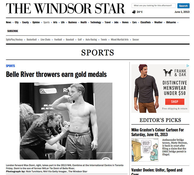 June 1, 2013: The Windsor Star - 2013 NHL Combine.