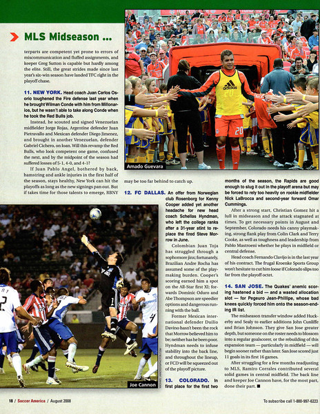 Soccer America Magazine 2008 August Issue Page 18 Top Right Image Amado Guevara.