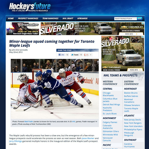 May 22, 2012: Hockey's Future Toronto Maple Leafs Matt Frattin.
