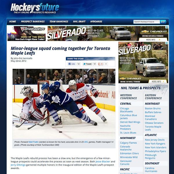 May 22, 2012: Hockey's Future Toronto Maple Leafs Matt Frattin.
