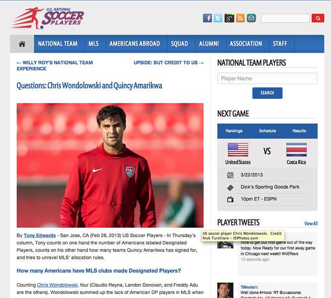 February 28, 2013: US National Soccer Players - US National Soccer Team Player Chris Wondolowski.
