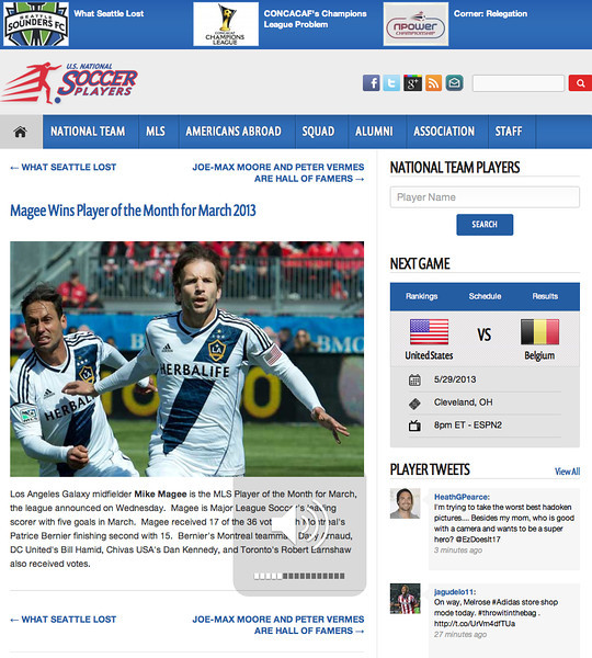 March 31, 2013: US National Soccer Players - Mike Magee - March MLS Player of the Month.