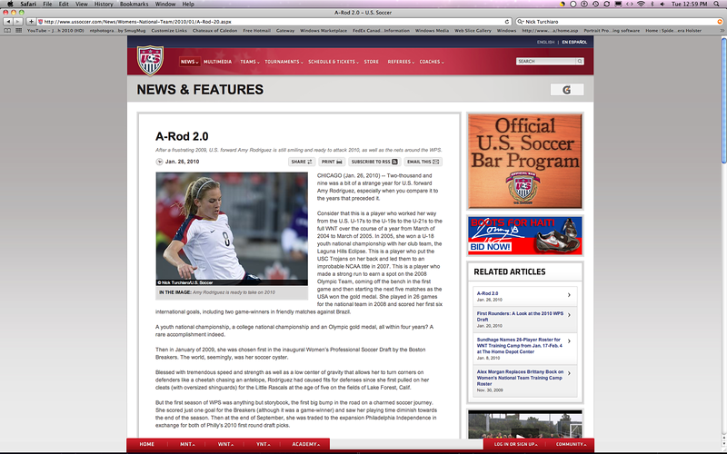 January 26, 2010: Article on USsoccer.com of the US Women's Soccer Team player Amy Rodriguez ready for the 2010 season.