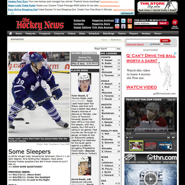 October 23, 2011: The Hockey News Toronto Maple Leafs Matt Frattin.