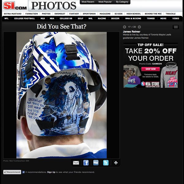 "December 23, 2011: si.com Photos James Reimer Goalie Mask. ""Words to live by courtesy of Toronto Maple Leafs goaltender James Reimer""."