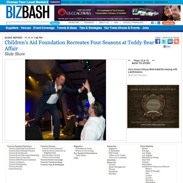 November 5, 2011: BIZBASH 25th Annual Teddy Bear Affair held by the Children's Aid Foundation at The Metro Toronto Convention Centre. <br /> Juno Award winner Johnny Reid.