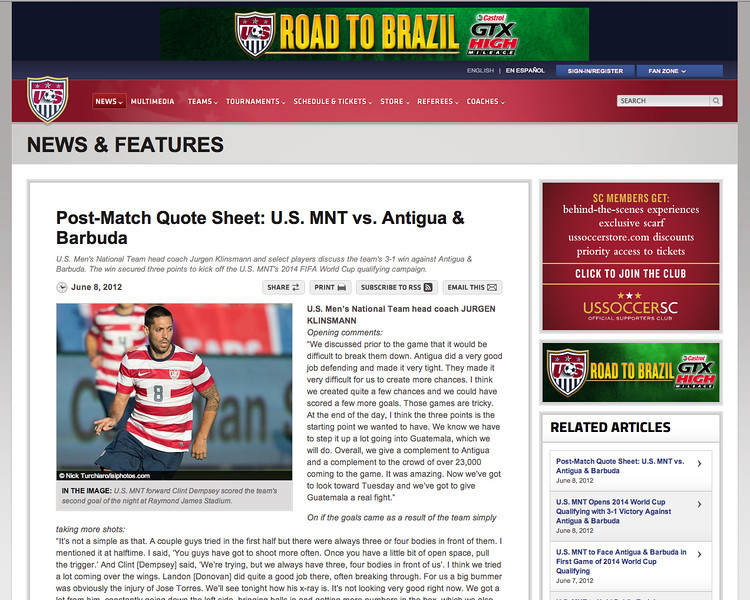 June 8, 2012: ussoccer.com - USMNT forward Clint Dempsey.