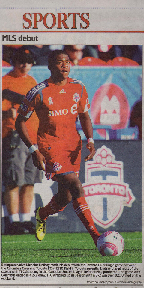 Toronto FC Nicholas Lindsay at BMO Field in Toronto.(The Brampton Guardian)