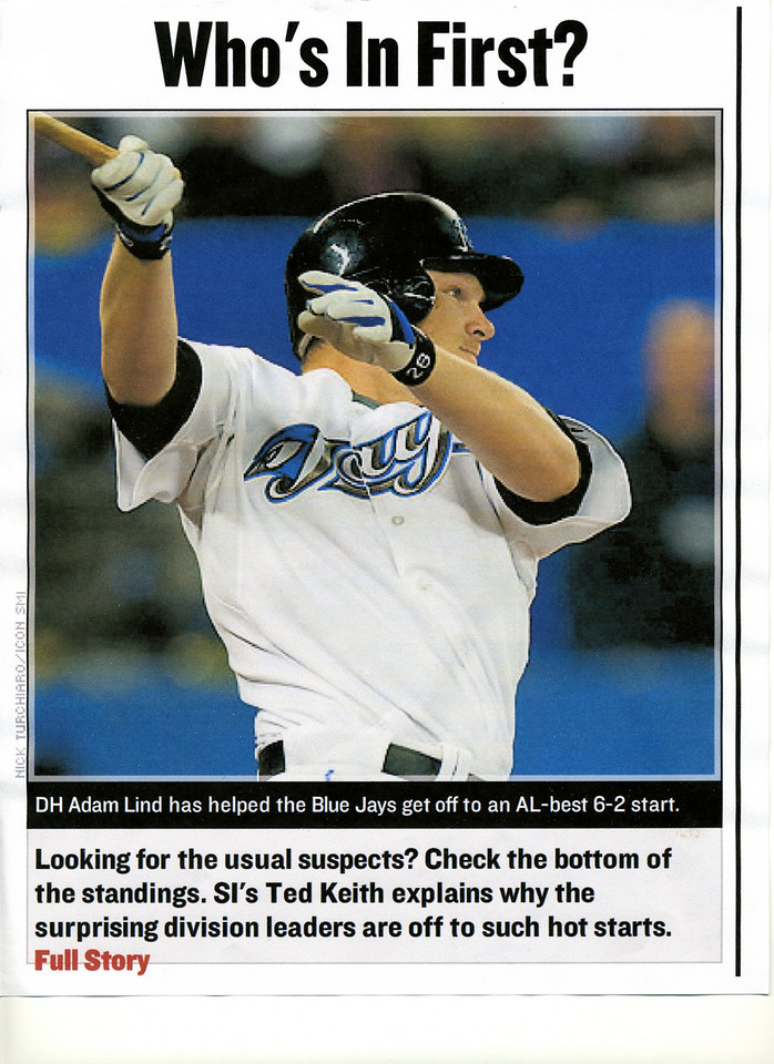 Article on si.com of Toronto Blue Jays DH Adam Lind #28 at the Rogers Centre in Toronto, Ontario.