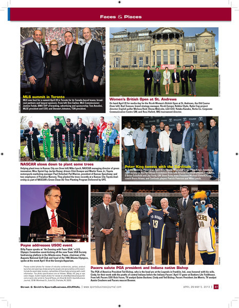 April 29, 2013: Street & Smith's Sports Business Journal - Faces & Places - Page 37 - MLS Summit in Toronto (top left photo).