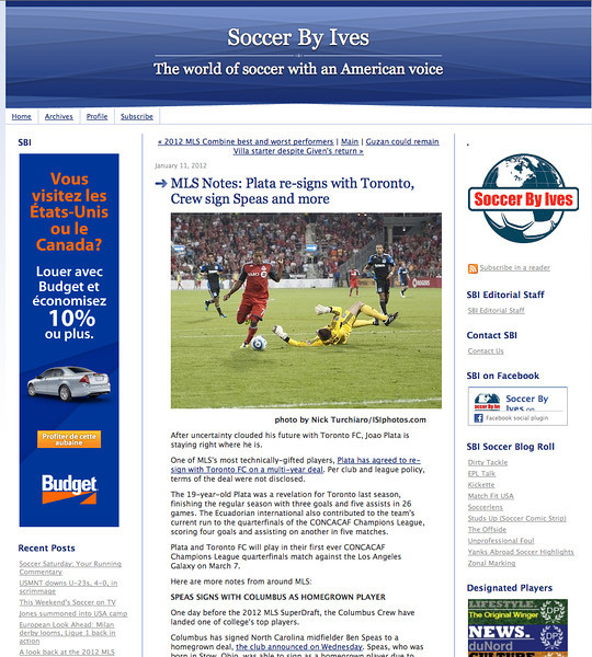 January 11, 2012: Soccer By Ives - Joao Plata re-signs with Toronto FC.