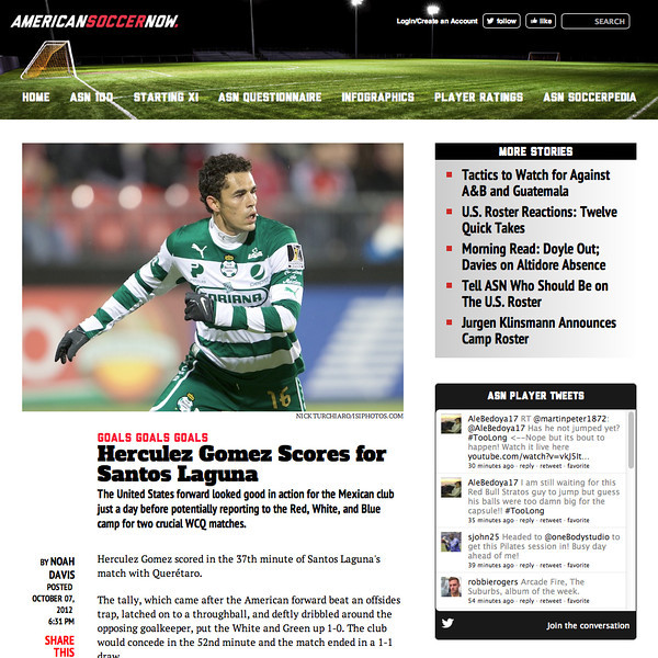 October 7, 2012: American Soccer Now - Herculez Gomez