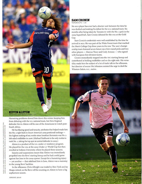 Soccer America Magazine 2010 Spring Issue Page 27 Bottom Right Image Sam Cronin.