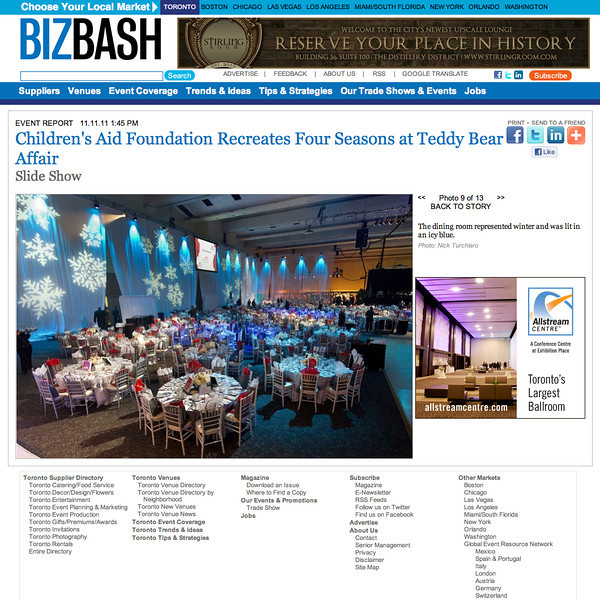 November 5, 2011: BIZBASH 25th Annual Teddy Bear Affair held by the Children's Aid Foundation at The Metro Toronto Convention Centre.